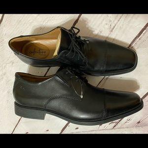 Clarks Collection Tilden Black Leather Shoes 11.5